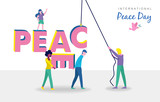 World peace day card of diverse people teamwork - 220455523