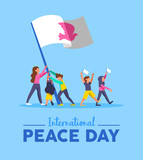 World Peace day card for diverse people teamwork - 220455525