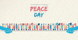 World Peace Day card of diverse people group - 220455547