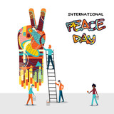 World Peace Day people teamwork concept - 220455564