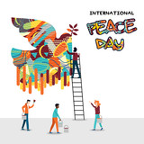 World Peace Day card of diverse people team work - 220455583