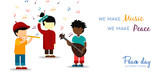 World Peace Day card of children making music - 220455710