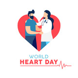 World Heart Day card of doctor and patient - 220455746