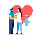 Doctor visit with patient for medicine concept - 220455750