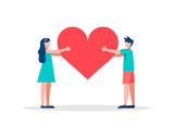 Red heart shape people concept illustration - 220455796