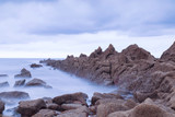 Serene seascape in Azkorri beach, Biscay, Basque Country, Spain. Long exposure shot. - 220457160
