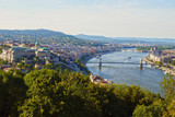 Panorama of the Hungarian capital of Budapest: Parliament, the Royal Castle and the famous bridges. - 220458369