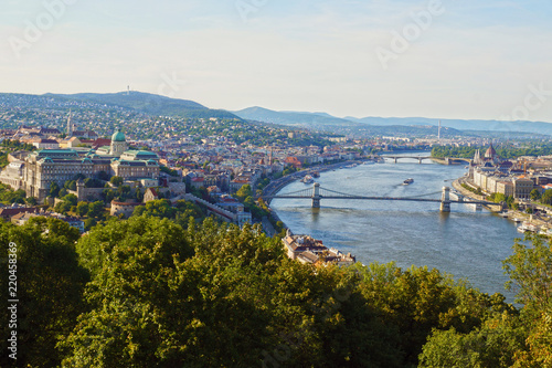 Panorama of the Hungarian capital of Budapest: Parliament, the Royal Castle and the famous bridges.