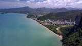 Aerial flight by drone to Ao Nang beach, Krabi Thailand - 220458730