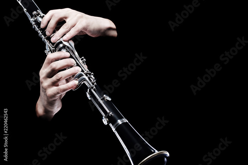 Clarinet player hands isolated - 220462543