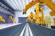 Leinwanddruck Bild - smart factory, modern automated production plant with robot arms - industry 2.0