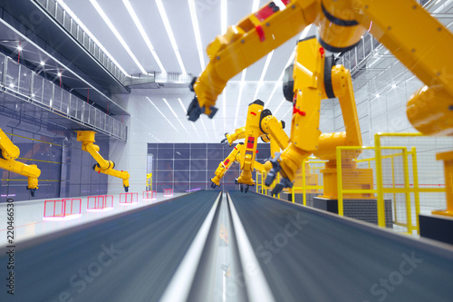 Leinwanddruck Bild smart factory, modern automated production plant with robot arms - industry 2.0