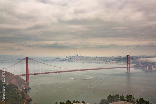 San Francisco and Golden Gate Bridge Panoramic Aerial View