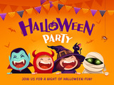 Halloween Party. Group of kids in Halloween costume with big signboard. - 220483735