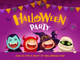 Halloween Party. Group of kids in Halloween costume with big signboard. - 220483761