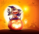 Halloween little witch. Girl kid in Halloween costume sits on a giant pumpkin. Magic wand and candies on hand.  - 220483780
