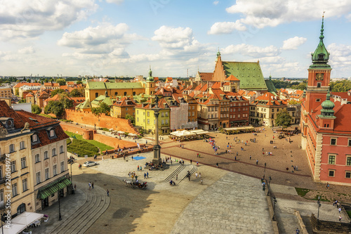 Warsaw City in a Sunny Day - Aerial View of Old Town