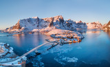 Aerial view at the Lofoten islands, Norway. Mountains and sea during sunset. Natural landscape from air at the drone. Norway at the winter time - 220505726