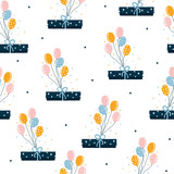 Cute gift box with balloons seamless pattern. Holiday texture. Vector hand drawn illustration. - 220507782