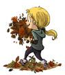 niñ con un monton de hojas en las manos
