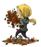 niñ con un monton de hojas en las manos - 220511773