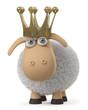 3d illustration Royal sheep/3d illustration farm animal giving wool and milk