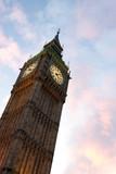 Vista del Big Ben al tramonto con nuvole colorate dal sole, Londra, Regno Unito - 220517717