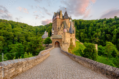 Burg Eltz castle in Rhineland-Palatinate at sunset