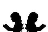 Vector silhouette of slim and fat girl on white background.