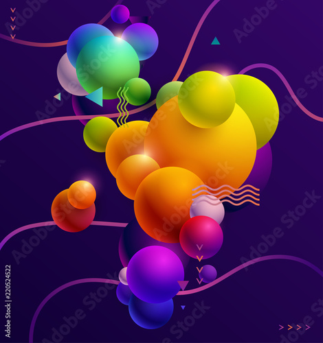 Multicolored decorative balls. Abstract vector composition. © theromb