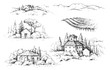 Rural Scene with Houses, Vineyard  and Trees Sketch
