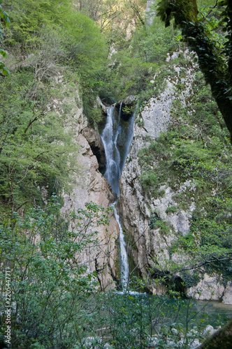 waterfall in the rocks among the green trees - 220544771