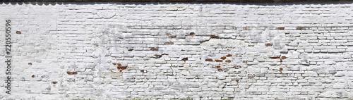 canvas print picture Rustikale Ziegelmauer, weiss getüncht