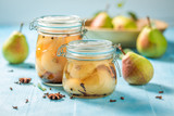 Ingredients for fresh pickled pears in summer - 220553106
