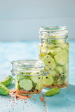 Fresh ingredients for canned cucumber in the jar - 220553175