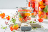 Fresh ingredients for canned red tomatoes in summer - 220553325