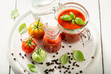 Fresh ingredients for ketchup prepared from tomatoes - 220553717