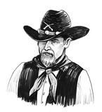 Ink black and white cowboy character - 220555370