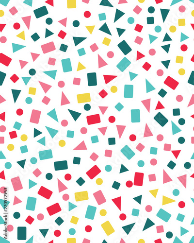 obraz lub plakat Seamless pattern with confetti of triangles, circles and squares