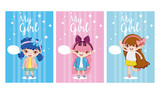 Cute girls cards - 220592745