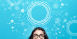 Tech circle with young woman on a blue background