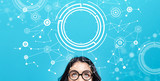 Tech circle with young woman on a blue background - 220594989