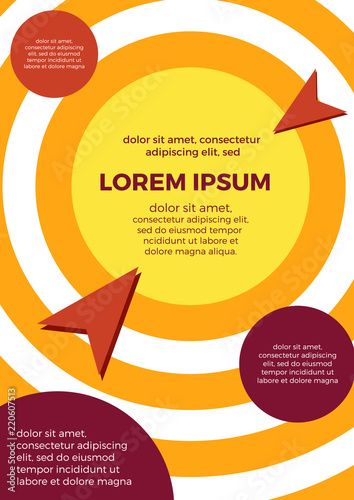 Poster Abstract geometric vertical background with copy space. Vector concentric circles.