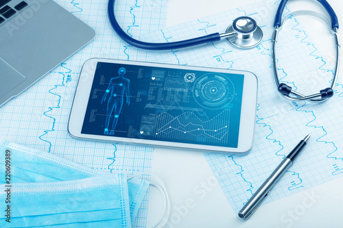 Leinwandbild Motiv Medical full body screening software on tablet and healthcare devices