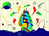 abstract colorful background ,fantasy sailing ship ,surrealist art style