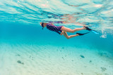 Little girl snorkeling - 220613728