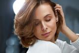 Healthy Hair. Beautiful Woman With Short Brown Hair