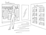 Shop interior graphic black white sketch illustration vector. Woman choosing a dress - 220621509
