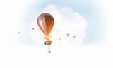 Air balloon in blue sky. Mixed media - 220623997