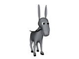 Cartoon Esel mit Zaumzeug und langen Ohren